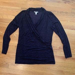 Black & Purple Faux Wrap Shirt